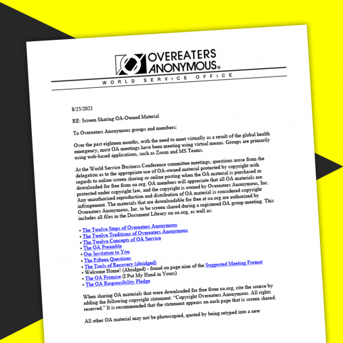 Image of letter from the Board of Trustees instructing groups to stop screen sharing OA literature.